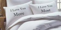 His and Her Pillow Case set Love You More Love You Most