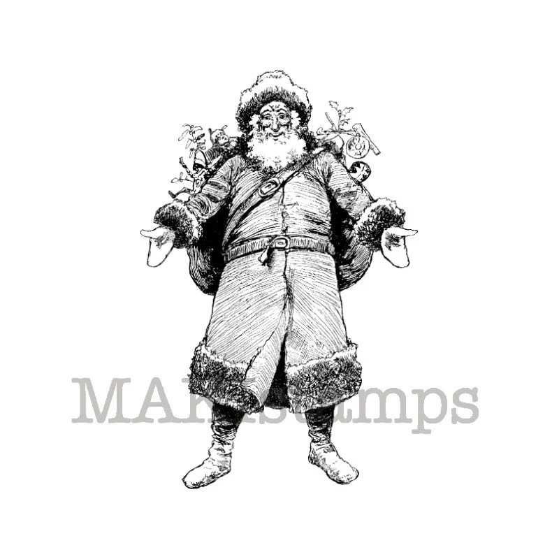 Santa Claus with presents / Unmounted rubber stamp / Xmas stamp (130512) - MAKIstamps