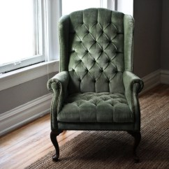 Green Velvet Tufted Chair Office Ball Cushion Mint Wingback