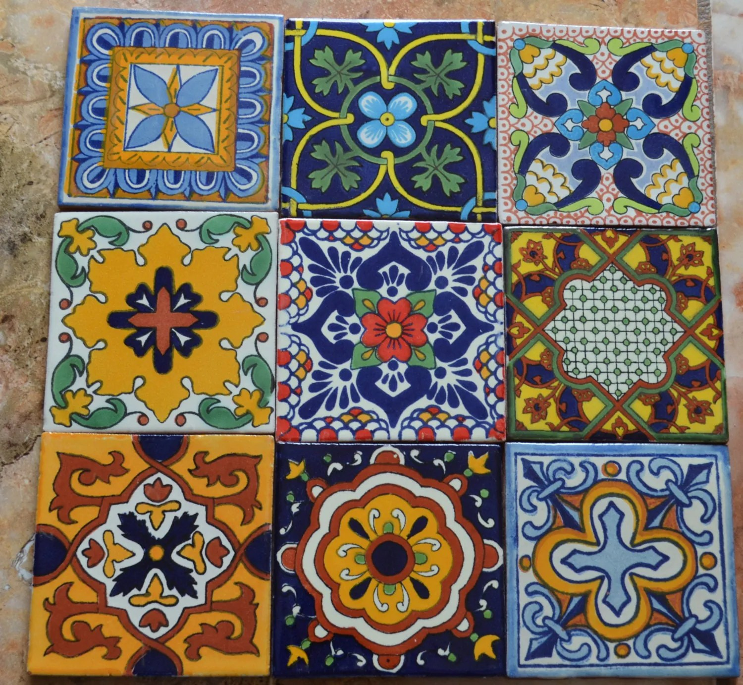 9MEXICAN TALAVERA POTTERY 4 tile Clay Hand Painted