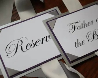 reserved signs for chairs template medical recliner chair wedding hanging on or pews - satin ribbon, ribbon corners