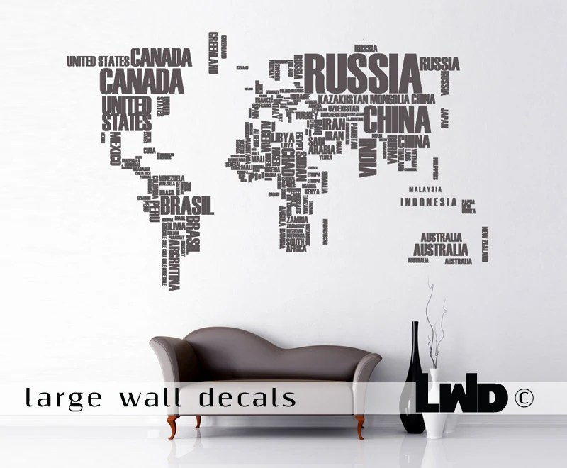 Maps Wall Decor - Large Map Decal -Vinyl Sticker - Office Decor - World Map Decal - LargeWallDecals