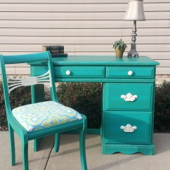 Teal Computer Chair Gray Accent With Ottoman Shabby Chic Desk And Antique In Annie Sloan Chalk