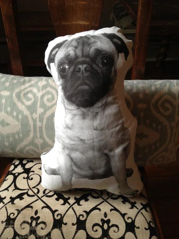 Ollie the Beige Pug Pillow Forward Facing