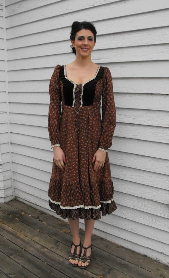 Gunne Sax Dress Brown Print Vintage 70s Boho Prairie