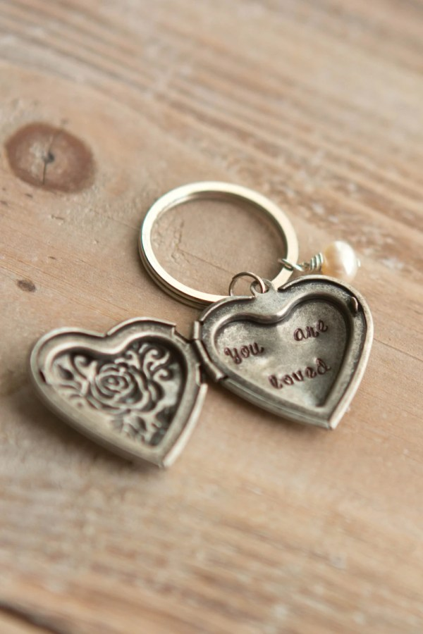 Locket Key Chain Silver Heart Loved Hand Stamped