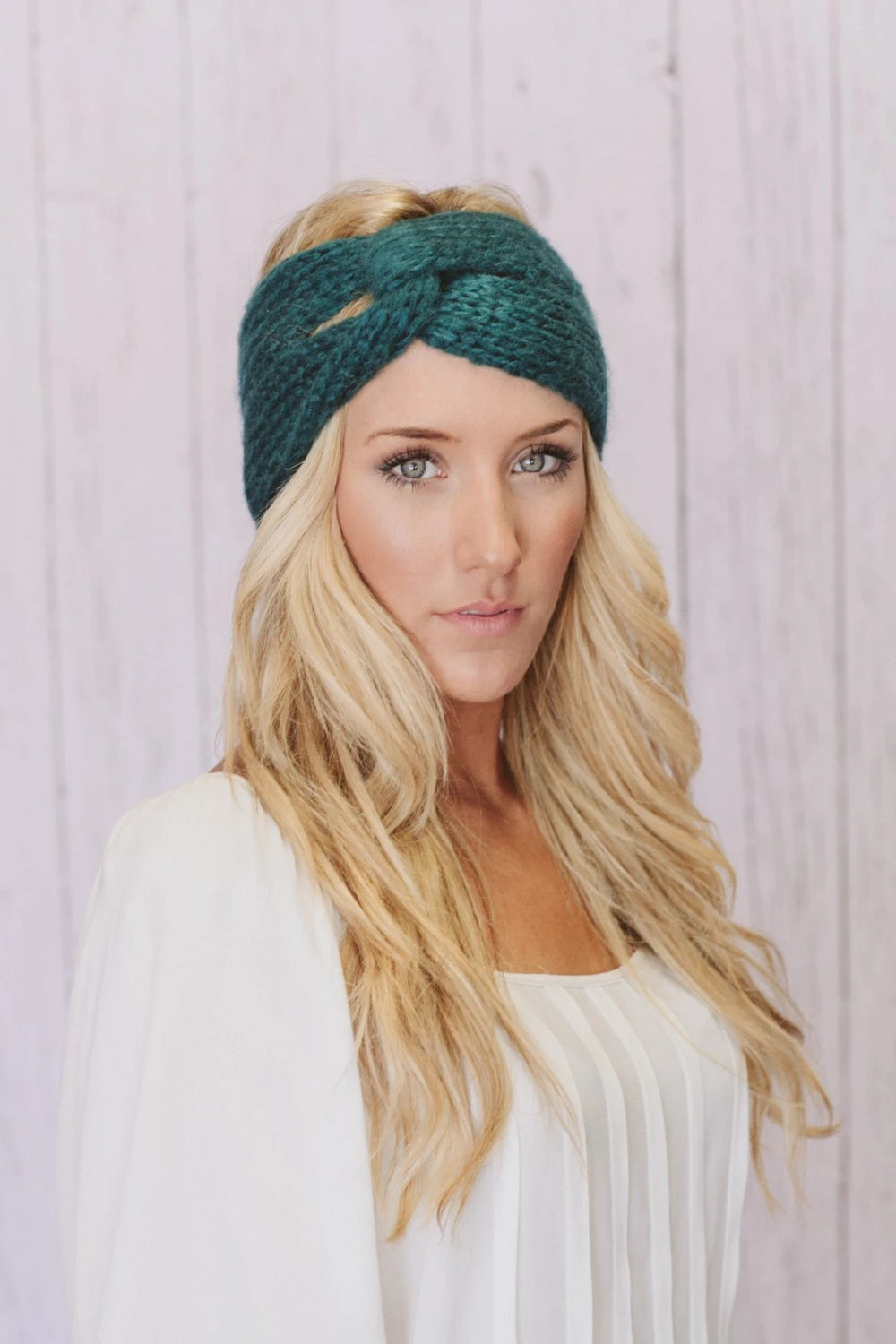 Teal Knitted Turban Headband Ear Warmer Dark Aqua Ear Warmer Winter Hair Bands Twist Style Wide Headband (KHB-01TEAL)
