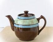 Vintage Sadler Staffordshire Teapot Brown Blue Green Single Serving - TheOtherLifeVintage