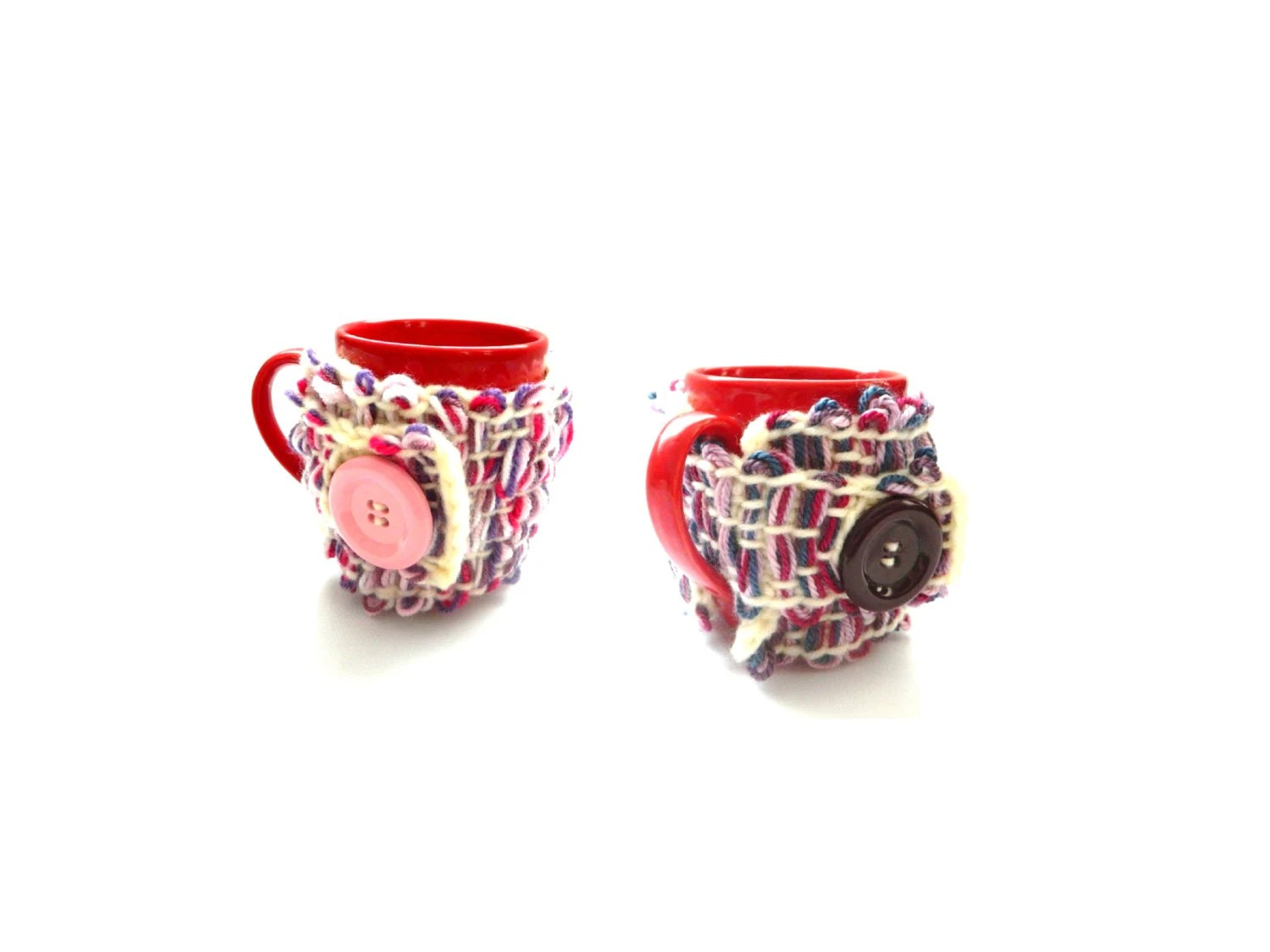 Pippi's OOAK Plum / Pink Mug Cozy, Colorful Crochet Mug Hugger, Mug Cover up, Mug Wrap, Christmas Gift, Unique, For Her, For Him, Rose - pippisLongstockings