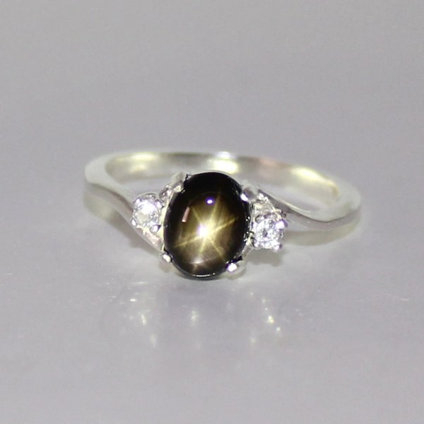 Natural Black Star Sapphire Ring Sterling Silver Tsnjewelry