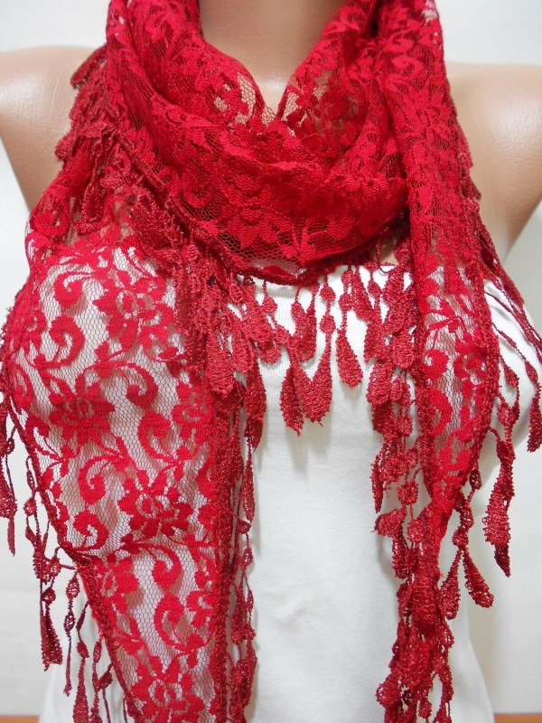 Red Lace Scarf Shawl Cowl Valentine'