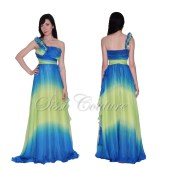 Starry Night Inspired One Shoulder Chiffon Ruffle Dress Size 4 - SissiCouture