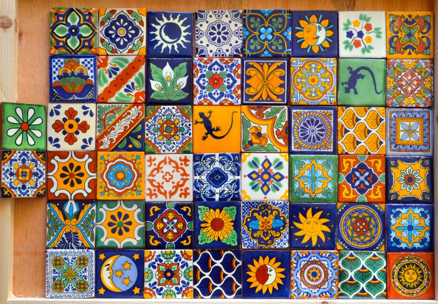 50 Mexican Talavera Tiles handmade Hand painted 2 X