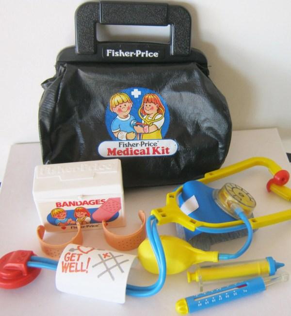 Vintage 1987 Fisher Medical Kit Doctor Bag And Tools 80s