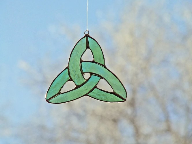 Recycled Celtic Knot, Green Glass Celtic Knot, Unique St. Patrick's Day Gift