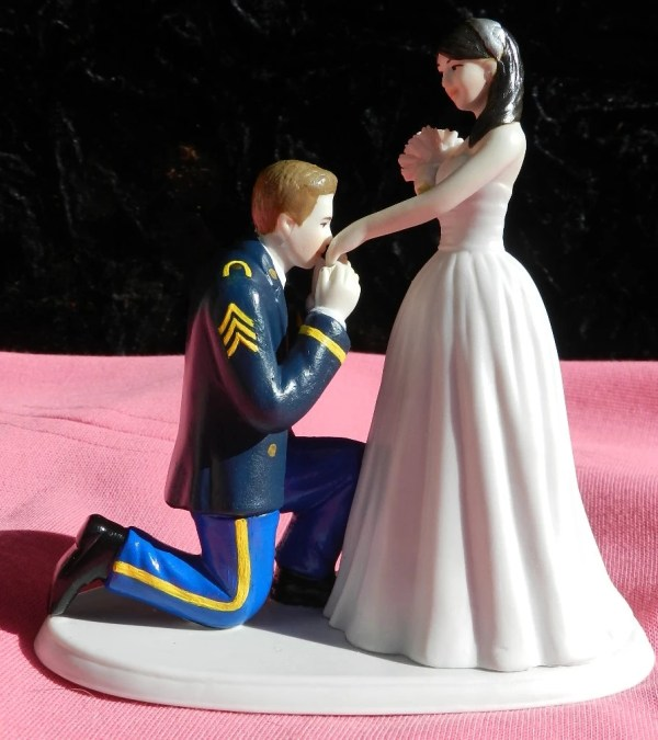 Army Military Soldier Prince Wedding Cake Topper Kneel