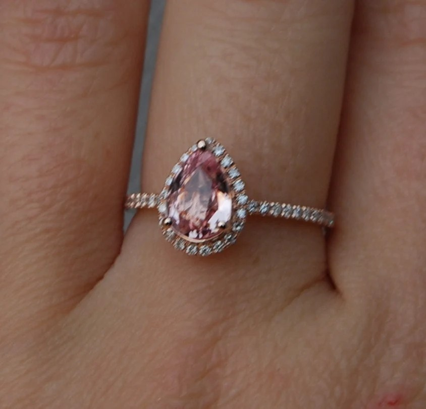 On Hold Belance 1ct Peach Champagne Tear Drop Sapphire And