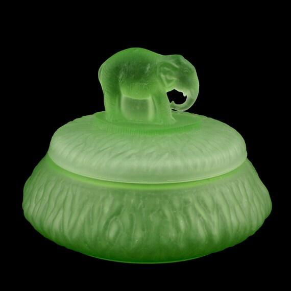 Elephant Powder Jar Green Greensburg Depression Glass by