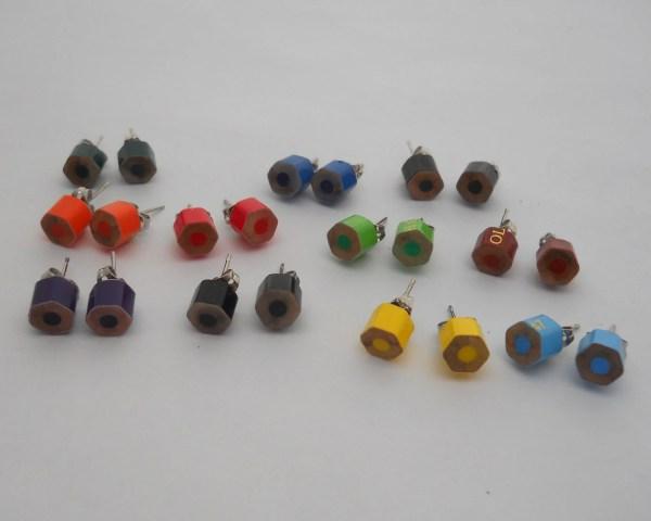 Pick 5 Stud Earrings Post Colored Pencil Earring