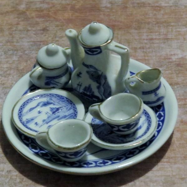 Vintage Miniature Blue And White Porcelain Tea Set