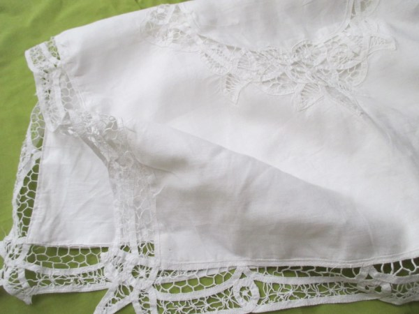 Shabby Chic White Cotton Pillow Sham Large Battenburg Lace