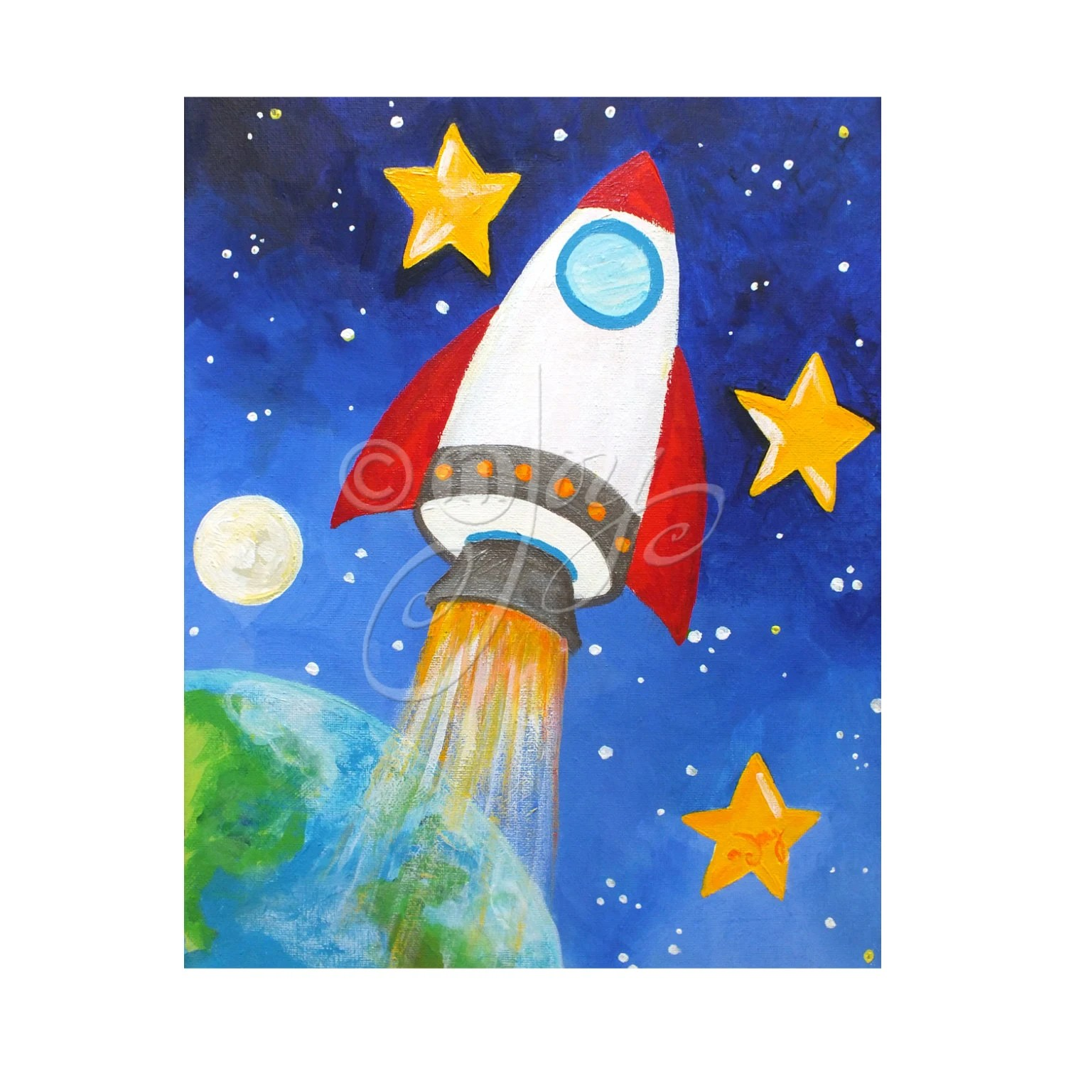 Rocket Blast Off Space Wall Art For Children 16x20 Print