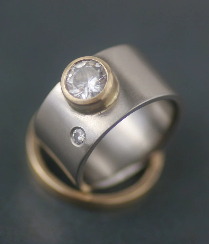 modern wide band engagement ring wedding band set by lolide