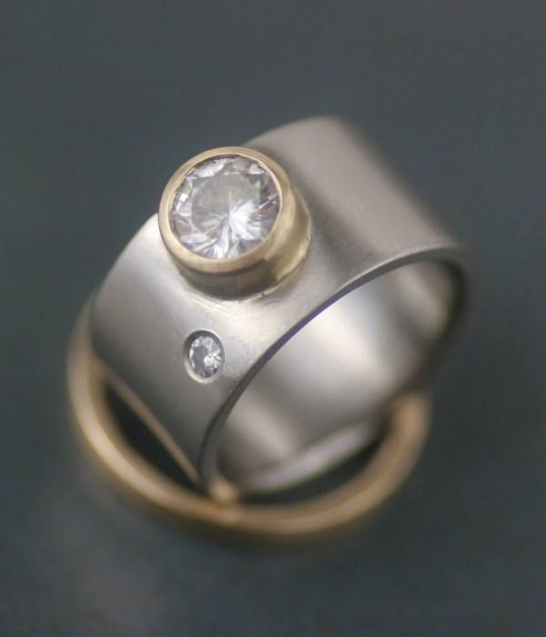 Modern Wide Band Engagement Ring Wedding Set Lolide
