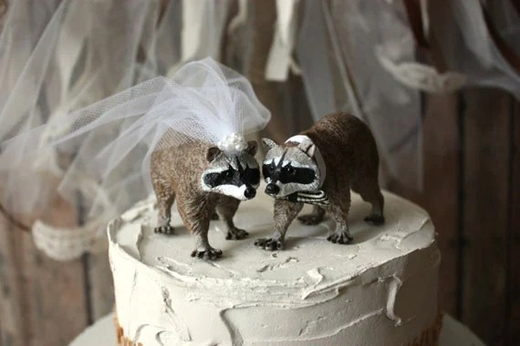 Raccoon wedding cake topperbride and by MorganTheCreator