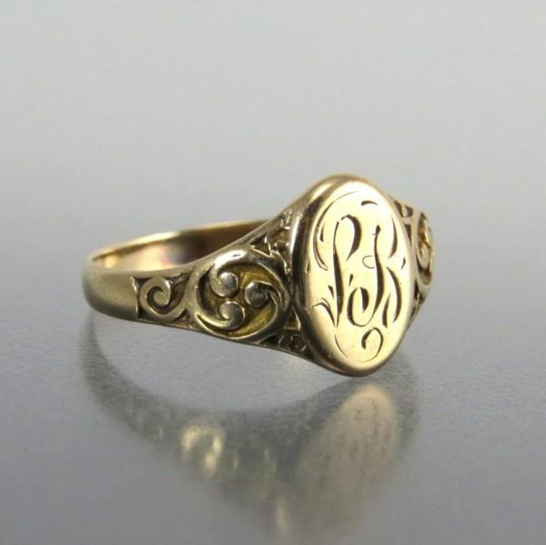 Antique Victorian 14k Gold Signet Ring Lb Initials