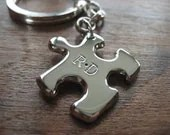 Silver Puzzle Piece Keychain Keyring with Initials - GorjessJewellery