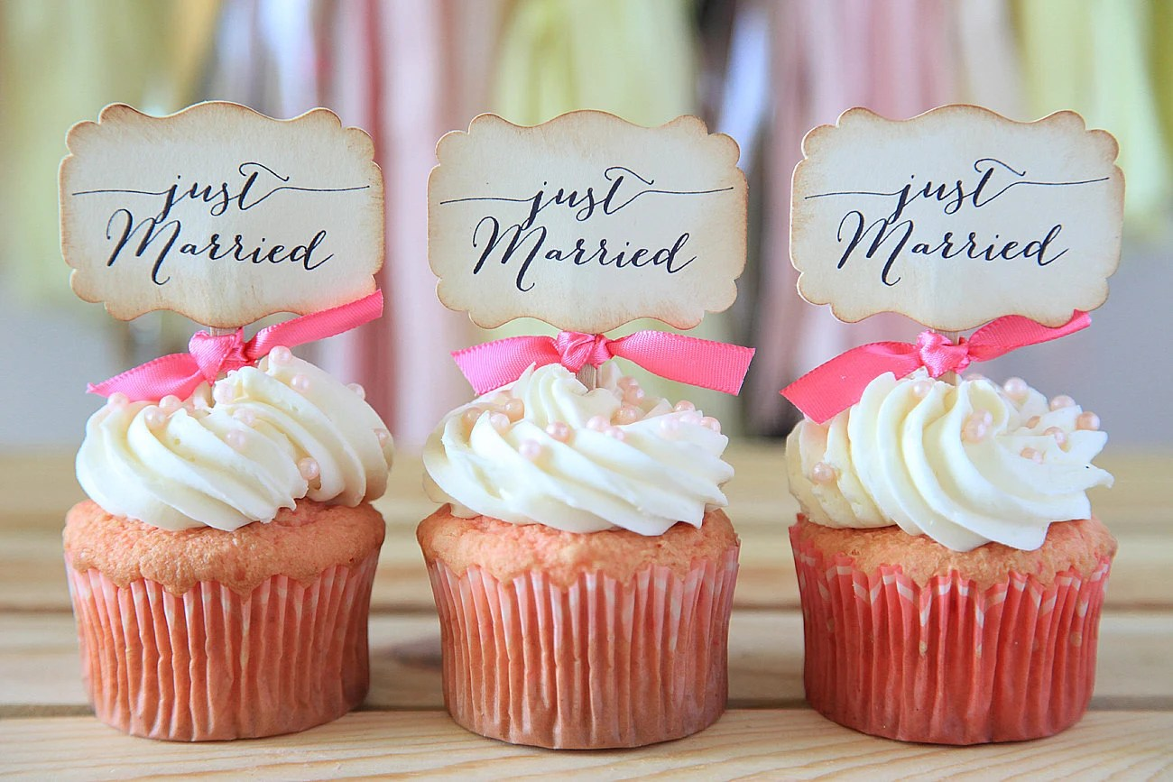 Wedding Cupcake Toppers Just Married Cupcake Toppers By Unify