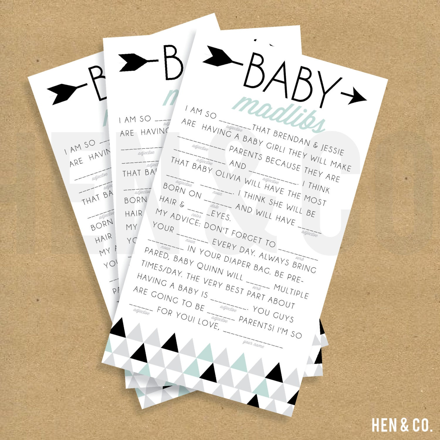 Baby Shower Madlibs Printable Triangles By Henandco On Etsy