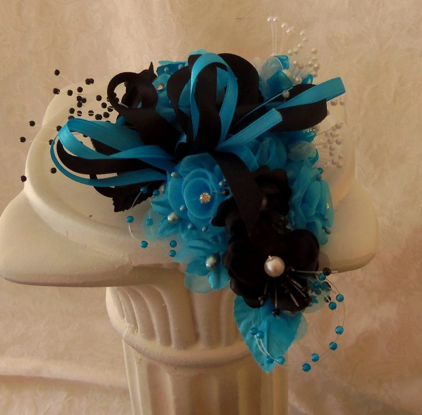 Wrist Corsage Turquoise and Black Prom Homecoming Wedding