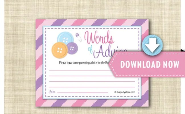 Cute As A Button Baby Shower Game Baby Advice Cards