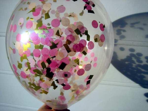 Confetti Balloons Hot Pink Light Peach Gold