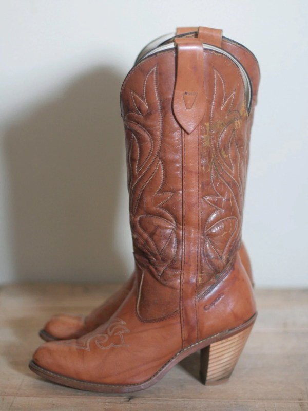 Vintage Women' High Heel Leather Cowboy Boots