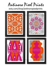 Items similar to Ikat Wall Art Orange Fuchsia Grey Ikat ...