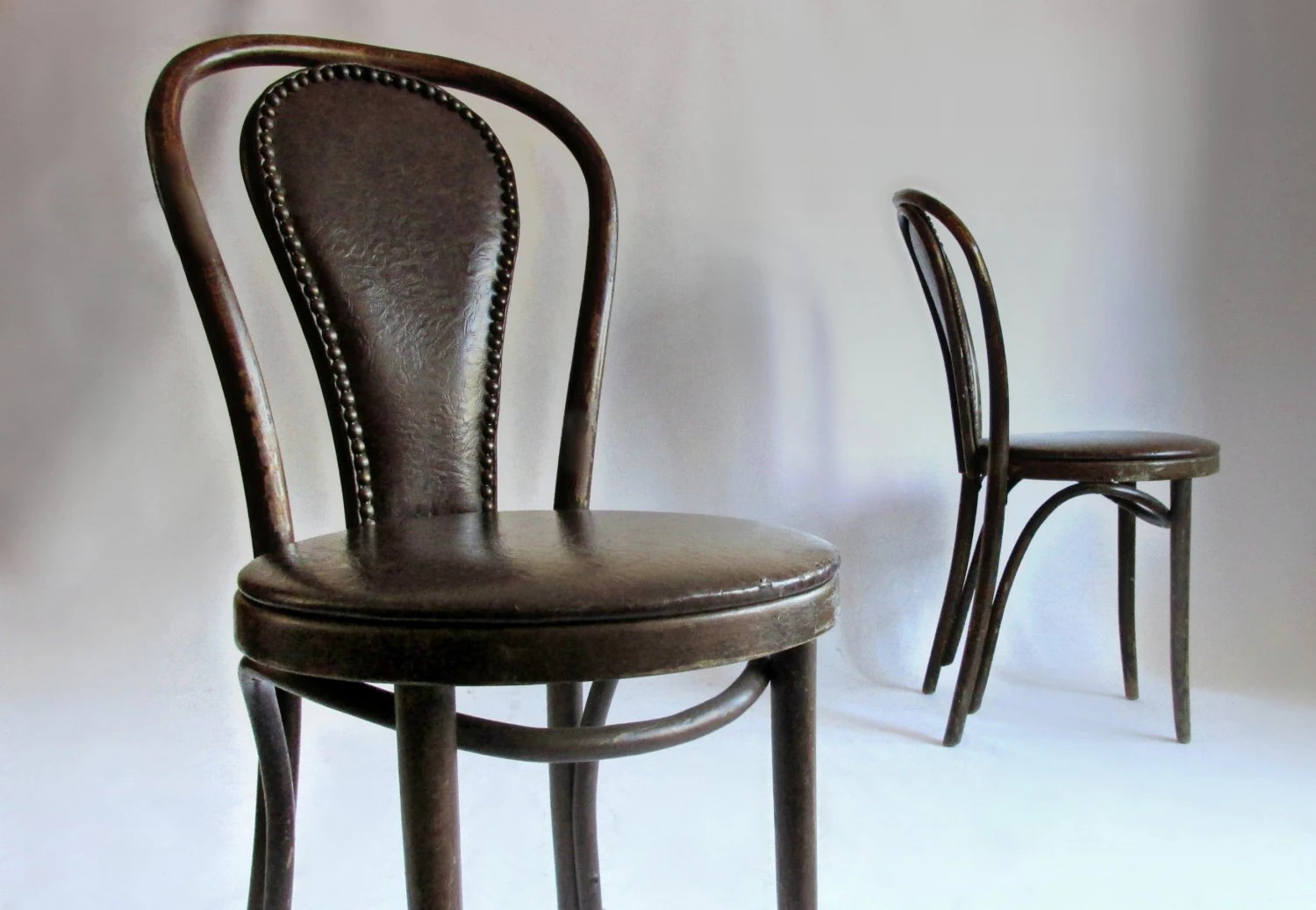 french bentwood cafe chairs d box chair pair upholstered leather by