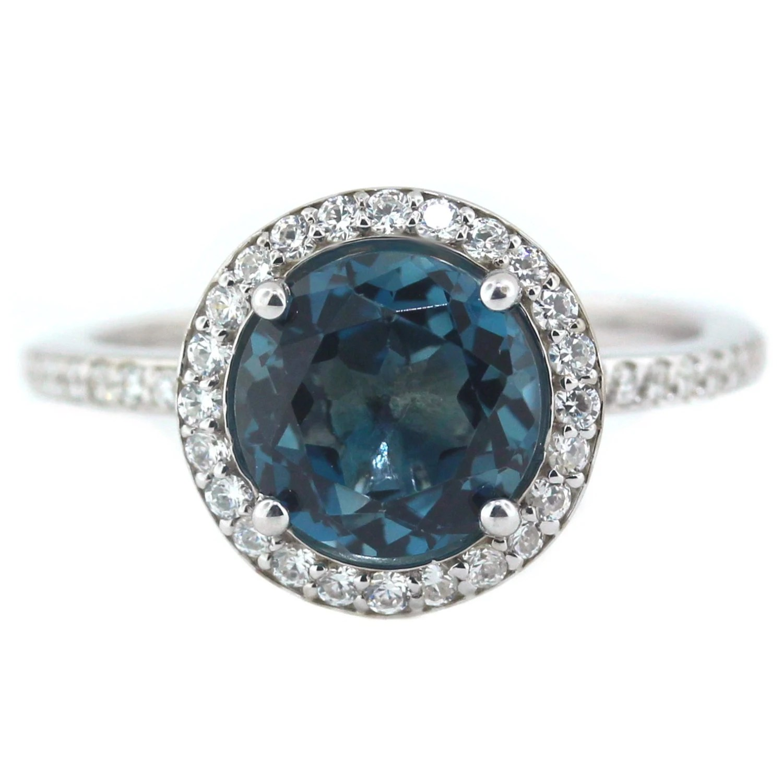 London Blue Topaz Engagement Ring Diamond Side Stones 14k Gold