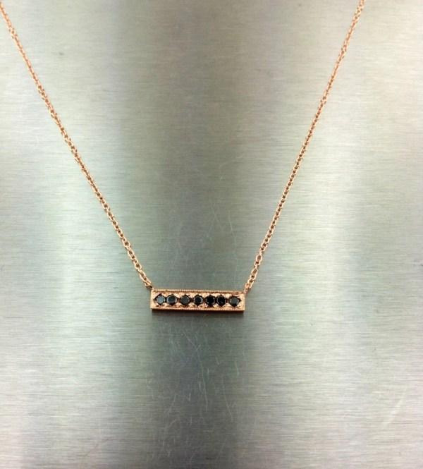 Karat Rose Gold Black Diamond Bar Necklace Kcdbykylechan