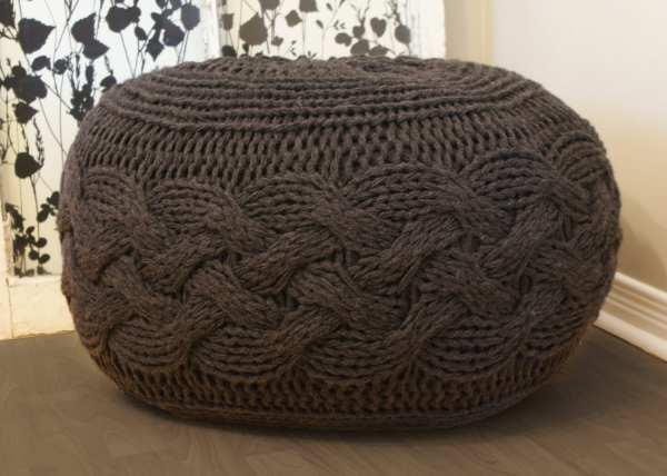 Diy Knitting Pattern Pouffe Footstool Ottoman Super