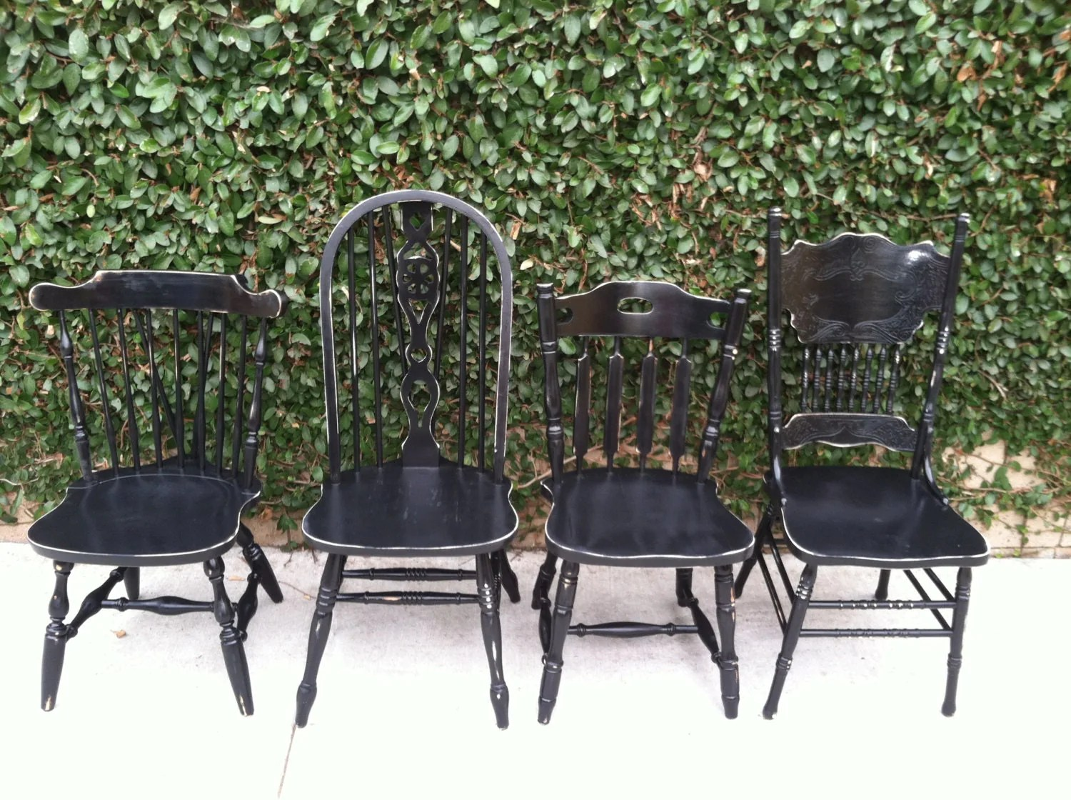 distressed black dining chairs comfy rocking vintage set of 4 by