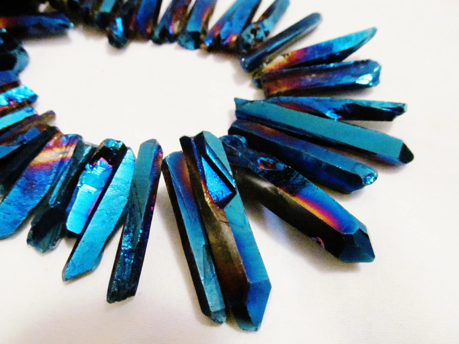 Blue Metallic Quartz Raw Faceted Graduated Large Stick Chunky Statement Necklace - CanterBeads