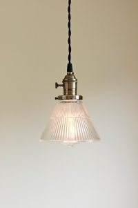 Pendant light fixture Ribbed Glass Cone SALE 10% off