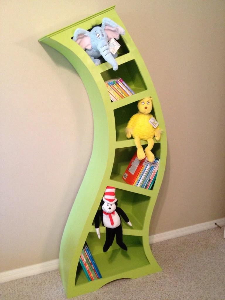 Dr Seuss wooden unique whimsical custom bookcase