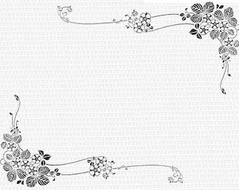 Floral Corner Border Antique Victorian Designs Vintage Clip