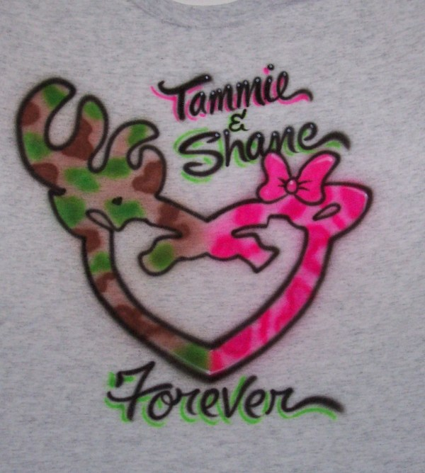 Deer Couple Buck And Doe Airbrushed T Shirt Lovers Airbrush