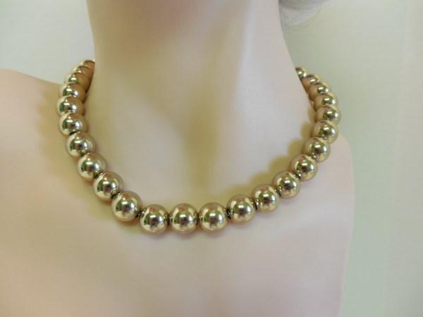 Monet Golden Pearls Necklace Romanique Line Circa 1970s