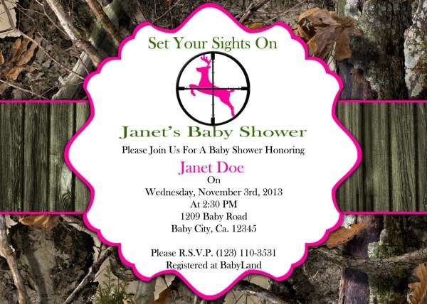 Items Similar Printable Invitation Girl Hunting Camo